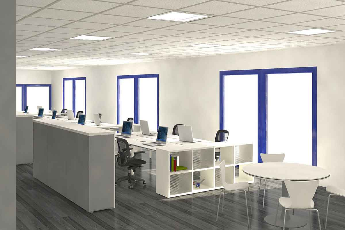 Open plan office space evensuns office interiors for Office space planning